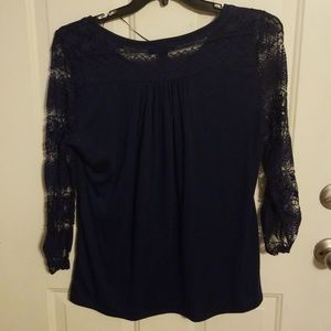 Style &Co size XL navy blue lace tshirt top